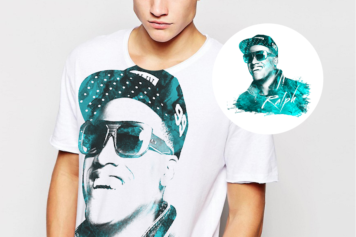 Tshirt with Anselmo Ralph image Merchandising by Louder Branding